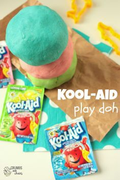 Kool-Aid Playdough. The important question is: Will we be able to eat it? Lol!