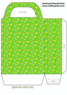 Green stars gift bag on Craftsuprint designed by Sharon Poore - Green stars gift bag,you will need to print 2 sheets to make the gift bag - Now available for download!