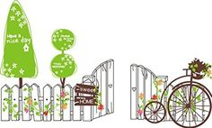 Wall Decals - YYone Sweet Home Quote Fence with Trees and Bikes Flowers Wall Decal Nursery Room Wall Decor
