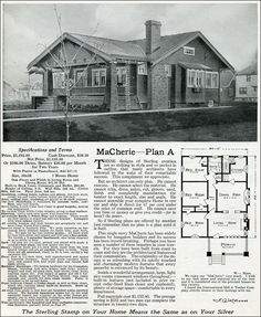 1916 Sterling – MaCherie House Plans – Arts & Crafts – Craftsman bungalow Source by kristentatious Cedar Shingle Siding, House Plans With Pictures, Birdhouse Designs, Cottages And Bungalows, Vintage House Plans, Bungalow Homes, Craftsman Bungalows, Story House, Kit Homes