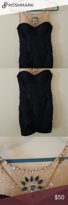 Cocktail dress **HOST PICK** Navy blue cocktail dress with beautiful bead detail. Looks gorgeous for a wedding or a night out. Adrianna Papell Dresses Mini