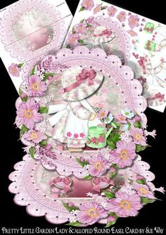 Pretty Little Garden Lady Scalloped Round Easel Card on Craftsuprint designed by Sue Way - A luxurious round easel card with a cute little lady tending her garden. She is surrounded by lots of beautiful pink flowers, with a pretty scalloped frame, edged with lace