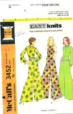 McCall's 3453, Misses' jumpsuit, Size 16 Bust 38, FF UNCUT, ©1972, 1970s fashion, palazzo pants, wide-leg pants by MySewingChest on Etsy
