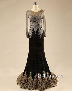 A-line Round Neckline Black Chiffon Lace Long Prom Dresses, Evening – 24prom #prom #promdress #promdresses