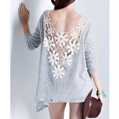 """Daisy"" Crochet Back Long Sleeve Top Crochet back long sleeve top. Available in grey and jade. This listing is for the GREY. True to size. Brand new. Bare Anthology Tops Tees - Long Sleeve"