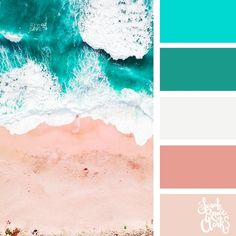 Beachy hues | 25 color palettes inspired by the PANTONE color trend predictions for Spring 2018 – Use these color schemes as inspiration for your next colorful project! Check out more color schemes at www.sarahrenaeclark.com #color #colorpalette