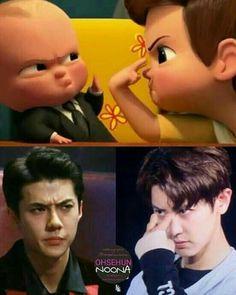 Lol exo oh sehun funny meme Kpop Exo, Exo Chanyeol, Exo Ot12, Kyungsoo, Exo Memes Funny, Funny Baby Jokes, K Pop, Kdrama Memes, Kim Minseok