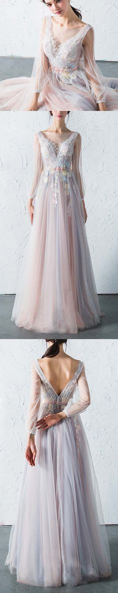 Affordable Long Sleeves Charming Unique V Back Long Prom Dresses, PM775 #prom #promdress