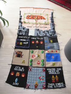Inspired by Geges Super Mario Bros Blanket, I'm making a Legend of Zelda-blanket for my hubby. Crochet Quilt, Diy Crochet, Crochet Blankets, Crochet Things, Tunisian Crochet, Crochet Afghans, Beading Patterns, Crochet Patterns, Nerd Crafts