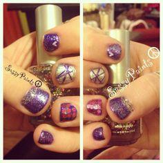 Cute #short #nails #nailart #purple #pink
