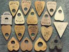 The Ouija is actually is an old parlor game from 1890, here is an collection of Planchette cusors used with various forms of Ouija boards.