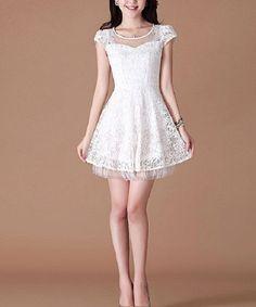 white lace engagement dress