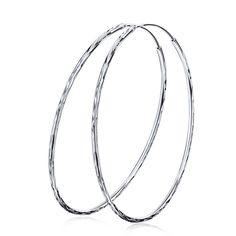 Big Round Pure Silver Hoop Earrings In 2018 Hoop Earrings