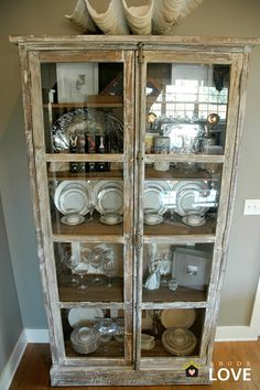 I love this cabinet. I would display either my collection of carlton walking ware or my fabrics in it. either would be lovely. Furniture, Redo Furniture, Home, Cabinet, Cabinet Decor, China Display, White Washed Furniture, China Cabinet, Dining Room Furniture