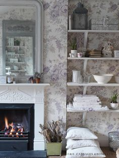 Modern Country Style: Interview With Christina Strutt from Cabbages and Roses Farmhouse Wall Mirrors, White Wall Mirrors, Rustic Wall Mirrors, Round Wall Mirror, Mirror Shelves, Wallpaper Shelves, Mirror Set, Mirror Ideas, Eames