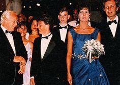 Princess Caroline  with Stefano Casiraghi and Rainier III of Monaco  at a gala.August,1989.