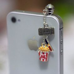 Kawaii MOVIE NIGHT Iphone Earphone Plug/Dust by fingerfooddelight, $8.00