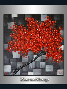 Red cherry blossom tree painting original modern by ZarasShop