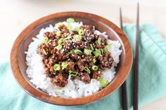 This Asian Chicken Rice Bowl uses lean ground chicken breast and is ready in about 20 minutes!