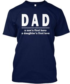 Proud Of Dad Navy T-Shirt Front