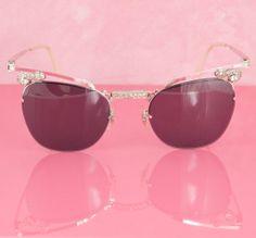 3fd8daceb1a 1960 s Bausch   Lomb Rhinestone Cateye Sunglasses  12KGF Cat Eye Sunglasses