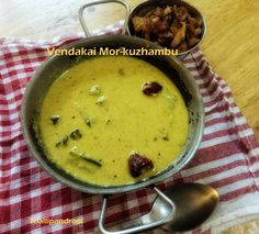 "Iyengar Style Vendakai Mor-Kuzhambu Iyengar style Vendakai Mor kuzhambu is a variant to the regular Pooshanikai Mor- Kuzhambu. I'd call this as south Indian version of ""Bhindi Kadhi"". Our version of kadhi / mor-kuzhambu does not require garam masala or garlic. The specialty in our cuisine is without these ingredients we can prepare an"