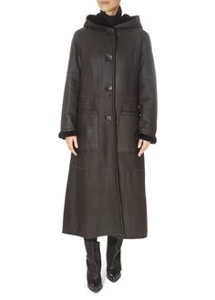 Brown Sheepskin Reversible Coat by Greek brand 'Centropel' features a hood and large pockets. It is the gorgeous coat you need for your winter occasions! Mink Jacket, Winter Coats Women, Black Belt, Raincoat, London, Brown, Clothing, Jackets, Fashion