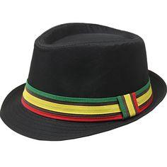 Solid Black Rasta Jamaican Inspired Reggae Fashion Unisex Fedora Hat