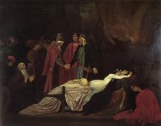 of all his work, this adagio was the composer's favourite .Hector Berlioz - Roméo et Juliette - Scène d'amour (Love scene) .painting is The Reconciliation of the Montagues and Capulets over the Dead Bodies of Romeo and Juliet, Lord Leighton Frederic, William Shakespeare, Caravaggio, Montagues And Capulets, Frederick Leighton, Juliet Capulet, Romeo Und Julia, Romeo Y Julieta, Painting Prints, Architecture Sketches