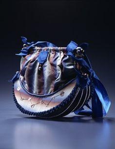 Blue, brown, cream striped silk reticule. Kyoto Costume Institute 1820s.