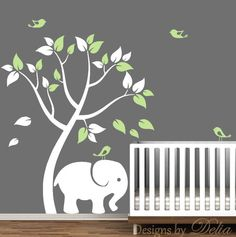 Boy or Girl Room Vinyl Wall Decals with Tree, Cute Elephant, and Birds