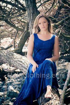 Sashia posing in her blue VANESSA dress