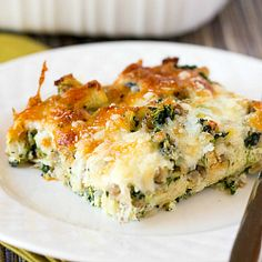 Cheesy Sausage Spinach Breakfast Casserole | Brown Eyed Baker  - I will try this with veggie sausage. Looks yummy!