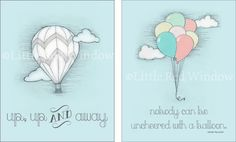 SET of 2 Balloon & Hot Air Balloon Printables  by LittleRedWindow, $18.00 Hot Air Balloon Up, Up & Away and Winnie the Pooh Balloon Quote printable. Buy two and save! Little Red Window Design