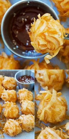 Fried Shrimp Balls - Crispy and crunchy shrimp balls, a popular and delicious Chinese appetizer. Learn how to make this Cantonese dim sum with the recipe. Shellfish Recipes, Seafood Recipes, Appetizer Recipes, Cooking Recipes, Chinese Appetizers, Chinese Desserts, Shrimp Balls, Fingers Food, Fried Shrimp