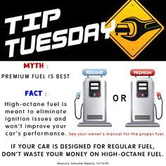 Car Care Tip: Premium High-Octane Fuel  vs. Regular Fuel.  Auto Repair at Automotive Service Garage of Sarasota, FL  http://www.srqautorepair.com/
