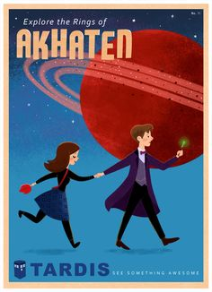"""Explore the Rings of Akhaten"" Doctor Who travel poster by Eren Blanquet Unten <3 (blog  post here http://eblanquet.blogspot.com/2013_10_01_archive.html)"