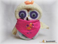 Mini-Windel-Eule, Baby Diaper Owl, Diaper Cake, Baby Shower, Babyshower, Windeltorte, Windelfigur, Windeltier, Geburtsgeschenk