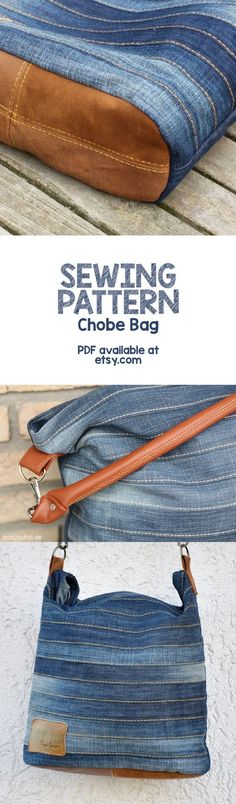 PDF Sewing pattern for this stylish upcycling hand bag available at Just search for Chobe bag. Free Printable Sewing Patterns, Pattern Sewing, Diy Sac, Denim Crafts, Upcycled Crafts, Purse Patterns, Patchwork Patterns, Clothes Patterns, Denim Bag Patterns