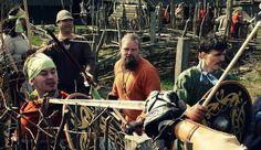 Viking warriors in foteviken sweden