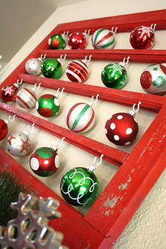 Old window frame, some hooks, Christmas ornaments
