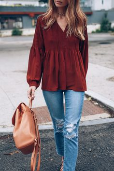 Fall style on Jess Kirby with the Brahmin Gloria backpack and boho blouse