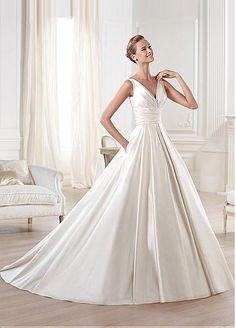 Exquisite Satin A-line V-neck Neckline Empire Waistline Wedding Dress