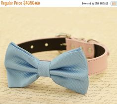Blue dog bow tie Bow attached to dog collar Pet by LADogStore