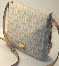 Michael Kors Jet Set Large MK Signature PVC Messenger Crossbody Bag Vanilla