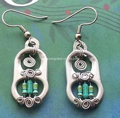 DIY Upcycled Earring Ideas, 12 Cute DIY Recycled Soda Cans and Pop Tabs Ideas - . - List of the best jewelry Soda Tab Crafts, Can Tab Crafts, Tape Crafts, Wire Jewelry, Jewelry Crafts, Beaded Jewelry, Amber Jewelry, Jewelry Ideas, Jewellery