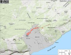 Map of the new lava flow at Kilauea as of September 3, 2014. Image Credit: USGS.