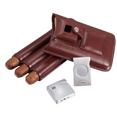 Visol Renly Leather Cigar Case with Lighter and Cutter