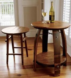 Wine Barrel Stave Table and Chair
