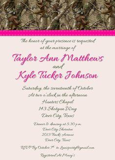Orange, Green, Hot Pink - Hunting Wedding Invitation. $20.00, via Etsy.